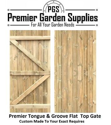 Bespoke Custom Made To Measure Wooden Garden Gate/Tongue & Groove Flat Top
