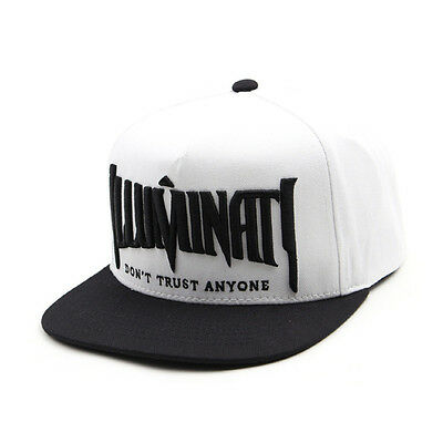 Unisex Mens Womens Illuminati Eye Baseball Cap Hiphop Snapback Hats White