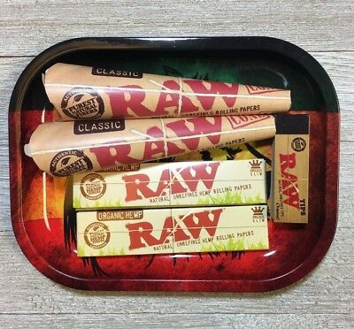Raw Rolling Paper w/ Tray, Rolling Paper Bundle Pre Rolled Cones, Papers & More