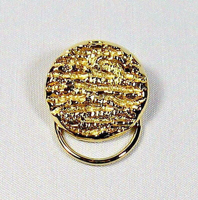 """Beautiful Vintage Gold Tone Rustic Texture Round Scarf Clip 1-1/4"""""""