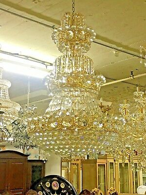 "Beautiful Ballroom Genuine Crystal Ball Chandelier  50"" Tall"