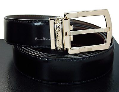 NEW Montblanc Classic Line Reversible Blk-Brown Leather & Gold Men's Belt 107663