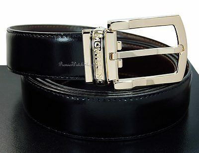 NEW Montblanc Classic Line Reversible Leather & Gold Men's Belt 107663