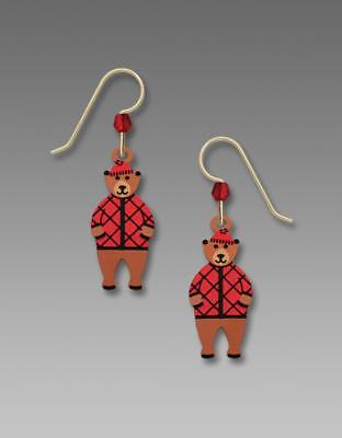 Sienna Sky Earrings 925 Sterling Silver Hook Handpainted Lumberjack Bear