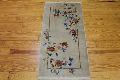 Authentic Hand Made Antique Chinese Art Deco Area Rug 2' X 5' 100% Wool Carpet