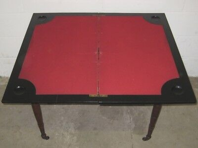 Victorian antique Arts & Crafts solid walnut ebony fold over card games table