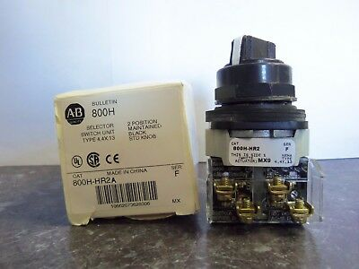 New Allen Bradley 800H-HR2A Selector Switch 2 Pos. Maintained Black Series F NIB