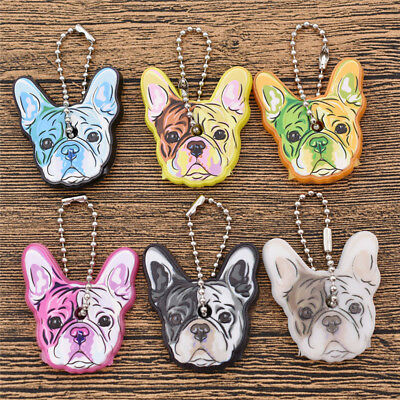 Kawaii Bulldog Head Silicon Key Top Holder Cover Chain Keychain Shell Cute