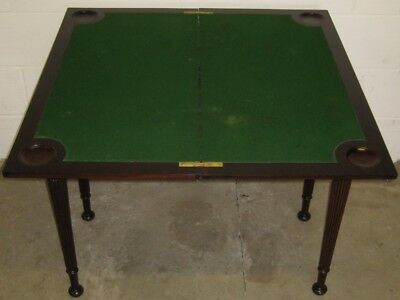 Victorian antique solid Cuban mahogany folding card games hall console table