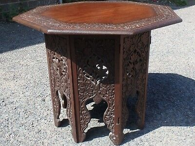Victorian antique Indian colonial solid carved rosewood octagonal side table