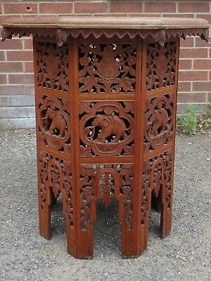 Victorian antique Indian colonial elephant carved solid teak octagon side table