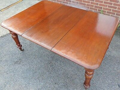 Victorian antique solid mahogany 1 leaf pull-out extending dining table seats 8