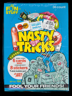 1990 Confex Nasty Tricks Trading Card Fun Stuff Wax Pack Box  Complete Set 1991