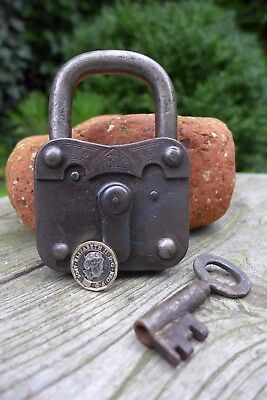 Antique vintage Abus padlock with one key, working order, collector, hobby 25-03