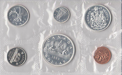 1963 Canada Sealed Proof Like Mint Set 6 Coins Total - 4 Silver Coins 80% 0.800