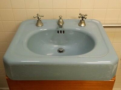 Blue Enamel Cast Iron Vintage Mid-Century Sink W/ Stopper & Faucets Fair Cond.