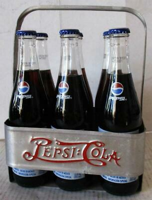 Pepsi-Cola Aluminum Six Pack Carrier with Bottles Circa 1940's