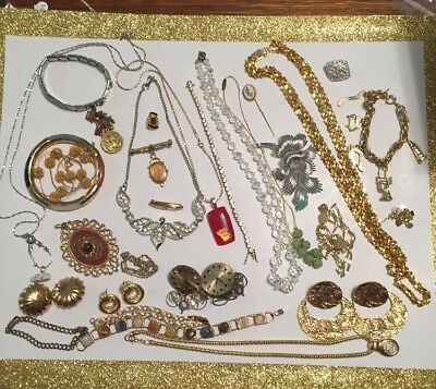 Antique & Vintage Jewelry Lot Includes 2 12k GF Pieces Interesting Collection