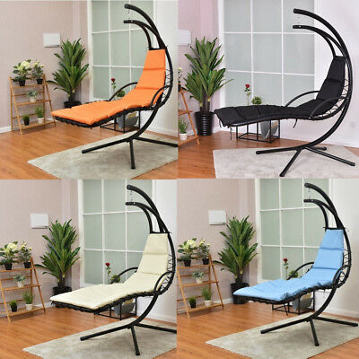 Hanging Chaise Lounger Arc Stand Air Porch Swing Canopy Hammock Soft Steel Chair