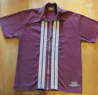 Mens Vintage 'Hype' Zippered Cotton Drill Shirt 1980s... Australian Made..Medium