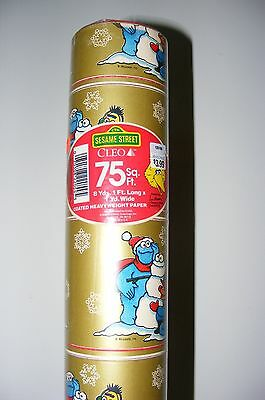 Vtg 1988 Sesame Street Christmas Wrapping Paper Bert Ernie Cookie Monster 75'