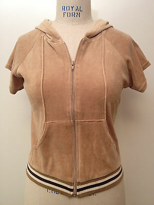 True Vtg 70s Velour Short Slv Sweatshirt Hoodie Zip Front Striped Ribbed Band Lg