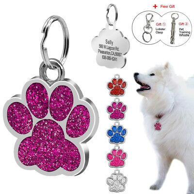 Glitter Paw Personalized Dog Tags Free Engraved Pet Puppy Cat Dog ID Nameplate
