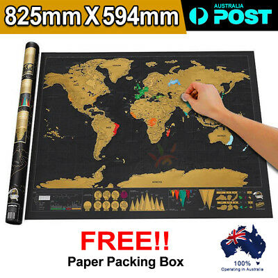 World Scratch Off Travel Map Bundle Wall Poster Deluxe Personalized Atlas Gift