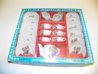 VTG SONSCO 23-PIECE IOB NEVER-USED 1950's CHILD TOY CHINA TEA SET:REAL CHINAWARE
