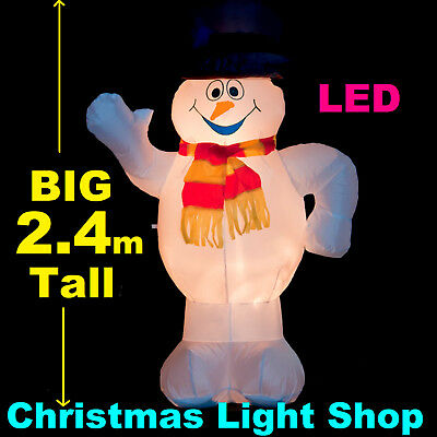 2.4m Air Power SNOWMAN with HAT Outdoor Inflatable Christmas Decoration w Lights