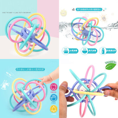 US Stock Teether Safety Silicone Biting Teething Balls Ring Fun Rattle for Baby