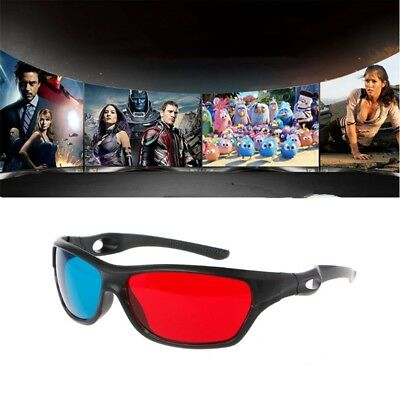 Frame Red Blue 3D Glasses For Dimensional Anaglyph Movie Game DVD Black