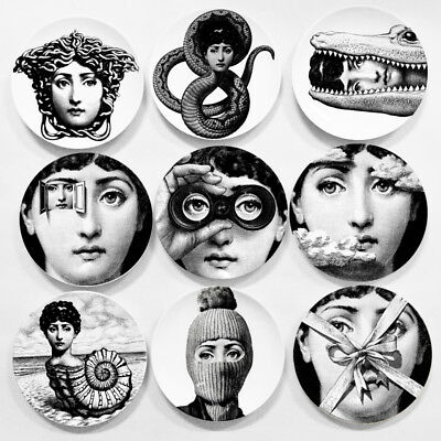 "8"" Ceramic Art Plates Piero Fornasetti Wall Hanging Home Hotel Sample Decoration"
