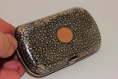 Antique Original Perfect Silver Niello Gold European Amazing Cigar Case