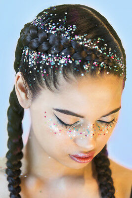 Rainbow Stars Deity, Chunky Cosmetic Glitter Pot Hair Body art Face inc Nails
