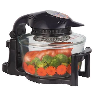 Premium Digital Halogen Convection Oven Cooker with Hinged Lid - 12 Litre Black