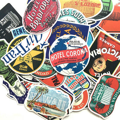 55Pcs Hotel Graffiti Stickers Skateboard Luggage Laptop Decal