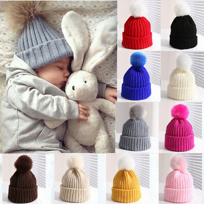 US STOCK Toddler Kids Girls&Boy Baby Infant Winter Crochet Knit Hat Beanie Caps