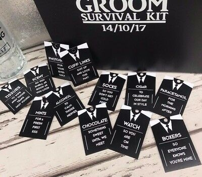Suit Up x 12 Groom Survival Kit Tags - Create your own Groom Box Hamper Gift Set