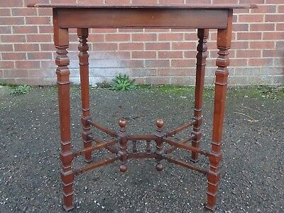 Victorian antique Arts Crafts solid walnut occasional side lamp stretcher table