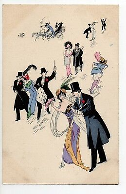 ILLUSTRATEUR Xavier SAGER Superbe carte femme sexy mode fetes galants sorties