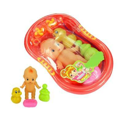 Baby Doll in Bath Tub With Shower Accessories Set Kids Pretend Role Play Toys AU