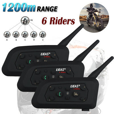 3x 1200M Motorcycle Intercom Helmet Interphone Bike Bluetooth Headsets 6 Riders