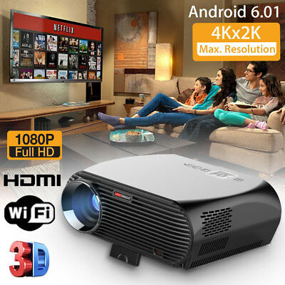 LED LCD Home Theater Projector Android 6.01 OS Wifi Bluetooth HD HDMI USB TV