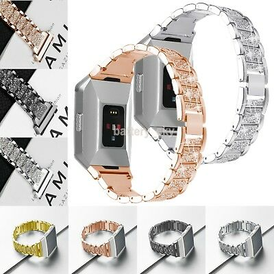 Stainless Steel Rhinestone Link Bracelet Metal Band Wrist Strap For Fitbit Ionic