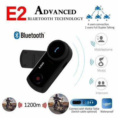 1200M Motorcycle Bluetooth Intercom Interphone Wireless Helmet Headset 4 Riders