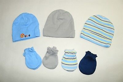 LOT OF 7 GARANIMALS Infant Boys Caps And Mittens Assorted Prints 0-6 Months