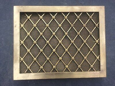 c1860 Original Antique Gothic Country House Solid Brass Wall Ceiling Vent Cover