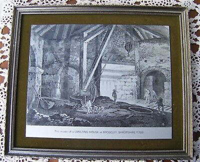 Vintage Framed Print Metal Picture ''SMELTING HOUSE at BROSELEY, SHROPSHIRE''