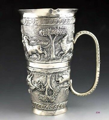 Superb c1900 Indian Silver Hand Chased Double Shot / Jigger Bar Measure